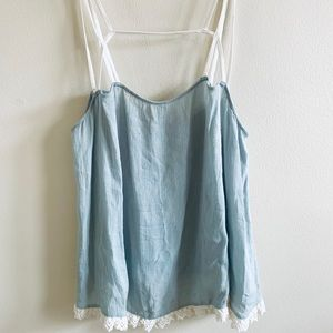 Free people strappy caged loose top with lace trim
